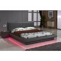 Grey Leather with LED Decoration Strip Light Contemporary Platform Bed