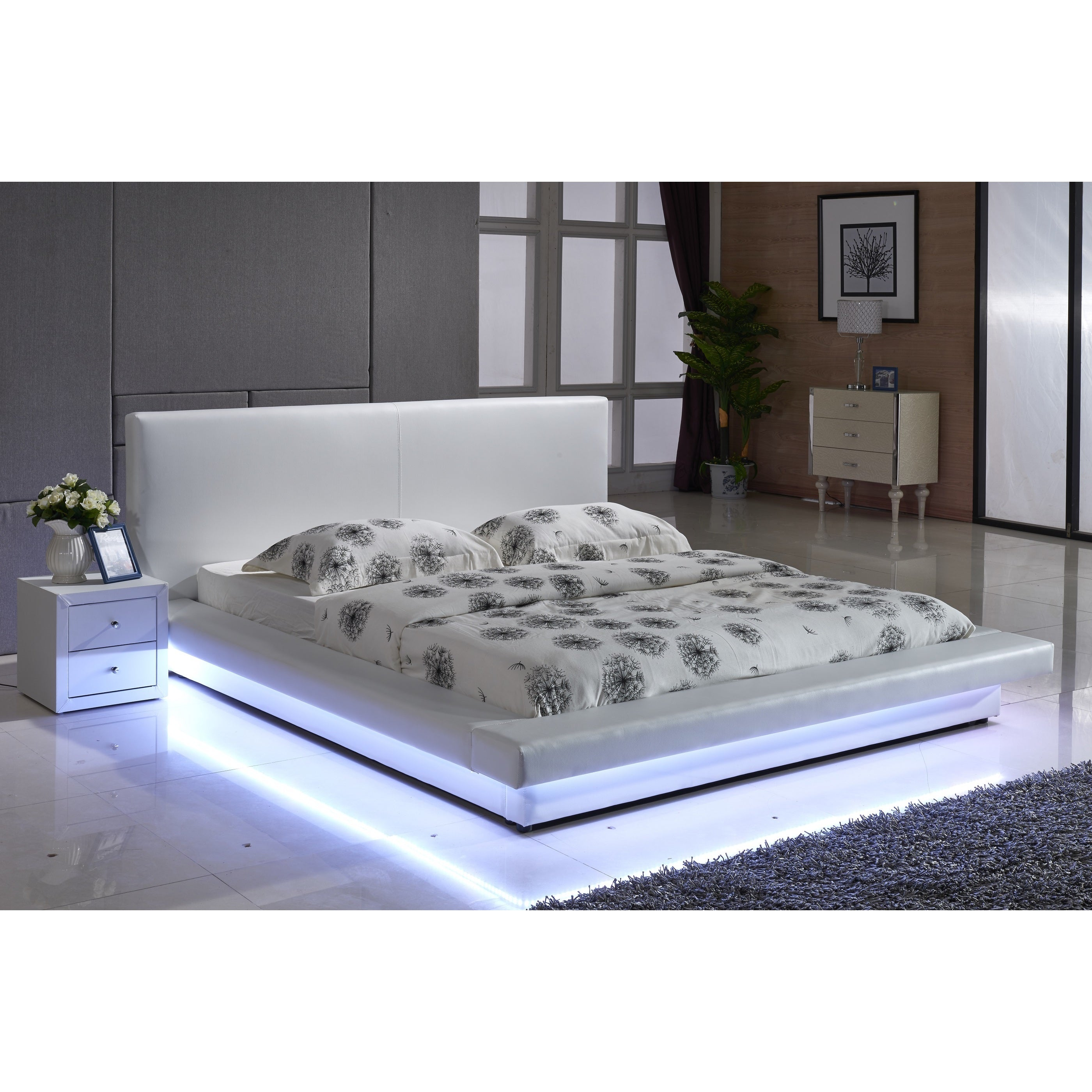 Contemporary White Platform Bed With Led Strip Lights Overstock 10993035