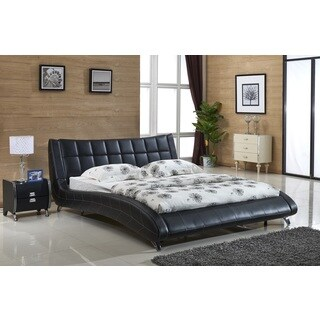 Jenson Balck Faux Leather Contemporary Platform Bed