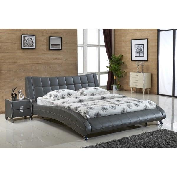 Shop Jenson Grey Faux Leather Contemporary Platform Bed