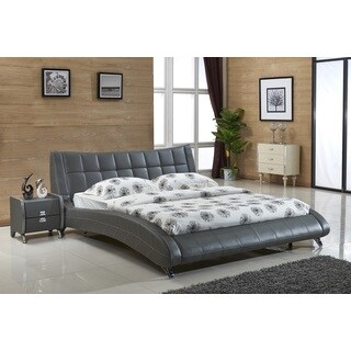 Jenson Grey Faux Leather Contemporary Platform Bed