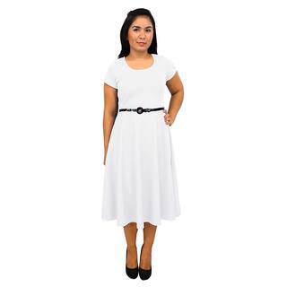 Women's Short Sleeve Scoop Neck White A-line Dress|https://ak1.ostkcdn.com/images/products/10993039/P18013406.jpg?impolicy=medium