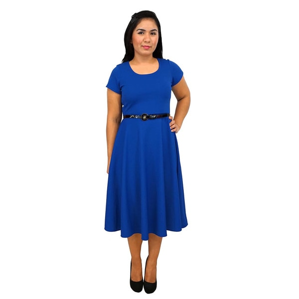 Shop Womens Short Sleeve Scoop Neck Royal Blue A Line Dress Free