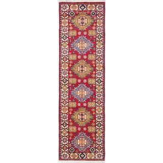 ecarpetgallery Royal Kazak Green/ Red Wool Rug (2'10 x 9'11)