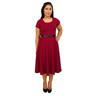 Women's Short Sleeve Scoop Neck Red A-line Dress