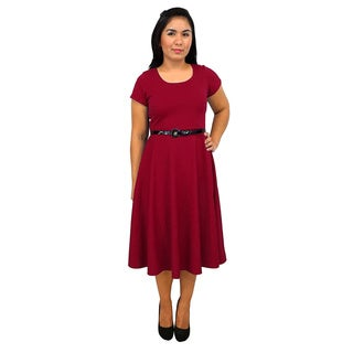 Women's Short Sleeve Scoop Neck Red A-line Dress