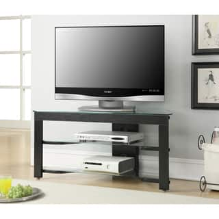 convenience concepts designs2go wood and glass black tv stand - Glass Entertainment Center