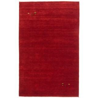 ecarpetgallery Kashkuli Gabbeh Red Open Field Wool Rug (8' x 10')