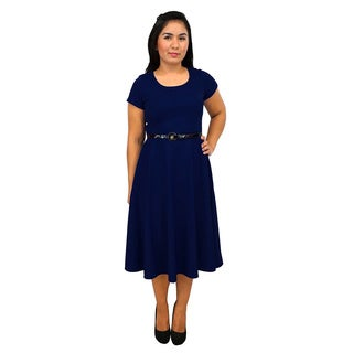 Women's Short Sleeve Scoop Neck Navy Blue A-line Dress