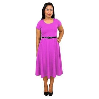 Women's Short Sleeve Scoop Neck Fuchsia A-line Dress