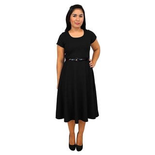Women's Short Sleeve Scoop Neck Black A-line Dress