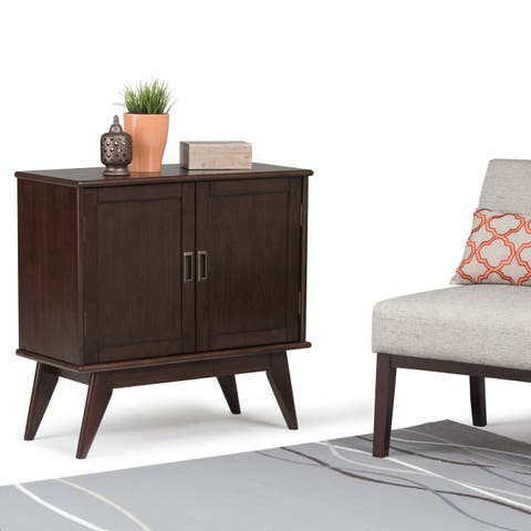 "WYNDENHALL Tierney Solid Hardwood 32 inch Wide Mid Century Modern Low Storage Cabinet - 32""w x 14""d x 31"" h"
