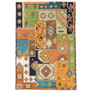 ecarpetgallery Royal Kazak Blue/ Orange Wool Rug (4'1 x 5'10)