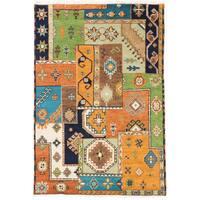 ecarpetgallery Royal Kazak Blue/ Orange Wool Rug - 4'1 x 5'10