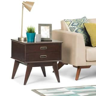 WYNDENHALL Tierney Solid Hardwood 22 inch Wide Rectangle Mid Century Modern End Side Table