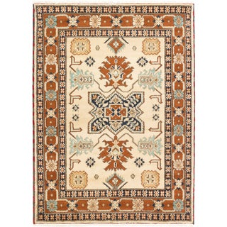 ecarpetgallery Royal Kazak Beige/ Orange Wool Rug (5'9 x 7'8)