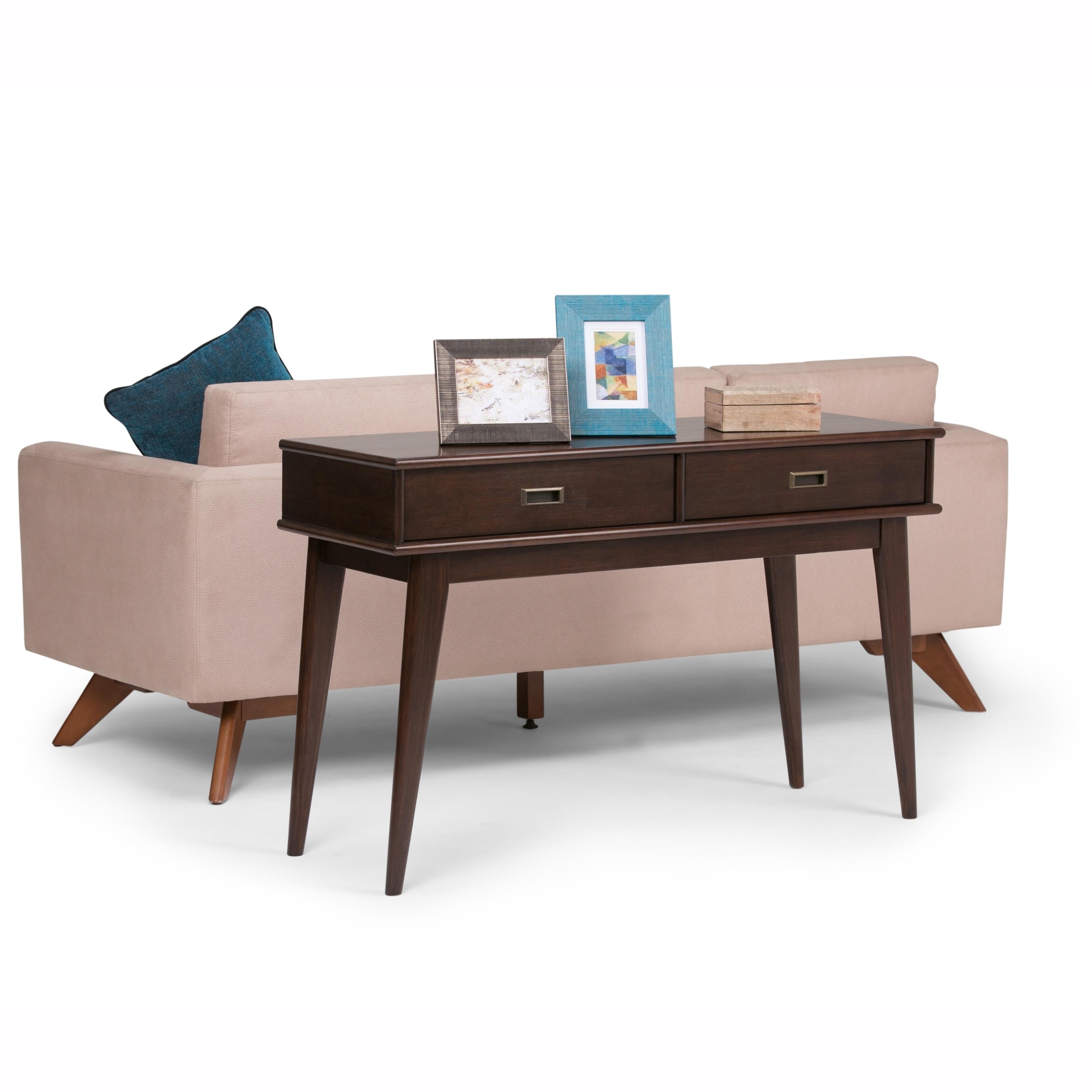 WYNDENHALL Tierney Solid Hardwood 48 inch Wide Mid Century Modern Console  Sofa Table - 48 W x 16 D x 30 H
