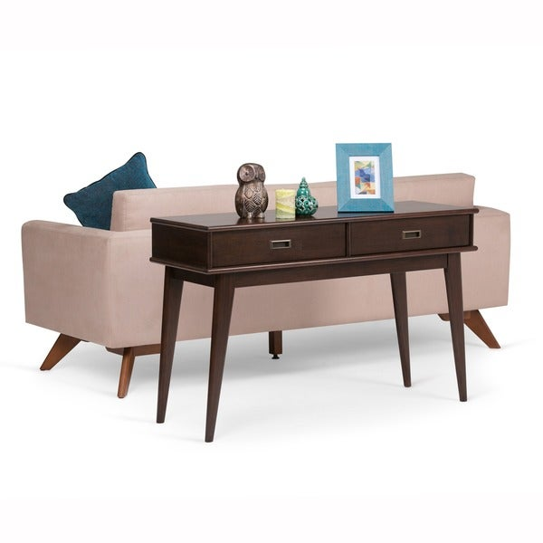 Mid Century Sofa Table: Shop WYNDENHALL Tierney Mid-century Console Sofa Table