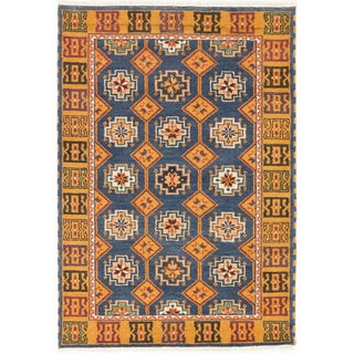 ecarpetgallery Royal Kazak Blue/ Orange Wool Rug (4'2 x 6')