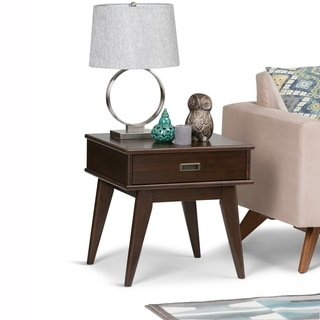 WYNDENHALL Tierney Solid Hardwood 22 inch Wide Rectangle Mid Century Modern End Table - 22 W x 20 D x 22 H