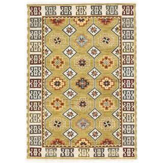 ecarpetgallery Royal Kazak Beige/ Green Wool Rug (4'2 x 5'10)