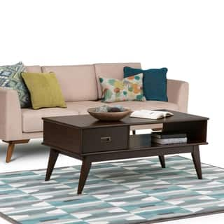 WYNDENHALL Tierney Solid Hardwood 48 inch Wide Rectangle Mid Century Modern Coffee Table