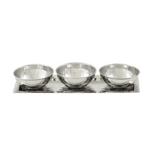 Studio 350 Stainless Steel 3 Bowl Tray Set of 4, 13 inches wide, 4 inches high