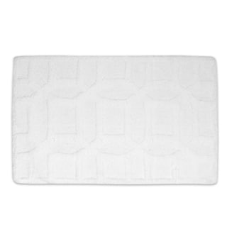 100-percent Cotton White on White Geometric Pattern Ultra Plush Bath Rug (21 x 34)
