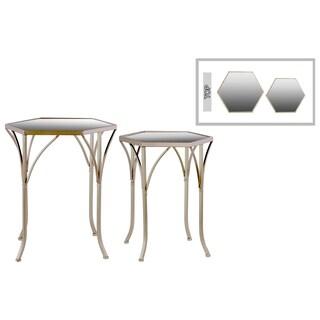 Metal Hexagonal Nesting Table with Mirror Top