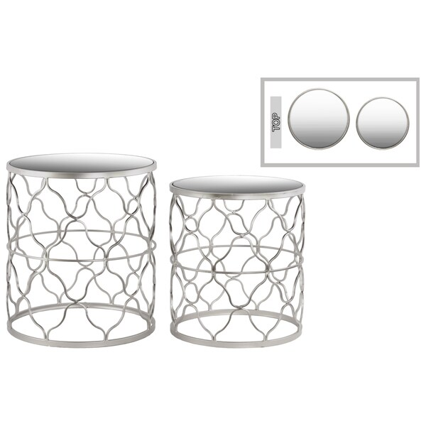 Urban Trends Round Mirror Top Silver Nesting Table (Set of 2)