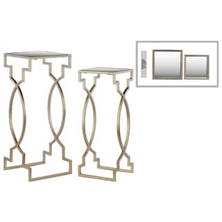 Urban Trends Square Mirror Top Champagne Finish Metal Nesting Side Table (Set of 2)