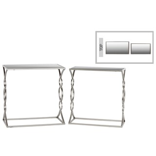 Urban Trends Rectangle Mirror Top Silver Finish Metal Nesting Side Tables (Set of 2)