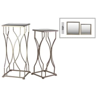 Metal Square Base Coated Finish Gold Accent Tables with Mirror Top (Set of Two)