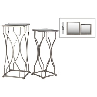 Metal Square Base Coated Finish Champagne Accent Tables with Mirror Top (Set of Two)
