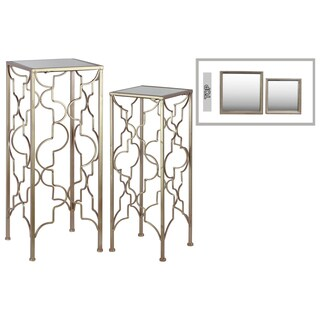 Metal Accent Table with Mirror Top and Square Base Set of Two Metallic FInish Gold