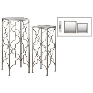 Metal Accent Table with Mirror Top and Square Base Set of Two Metallic FInish Champagne