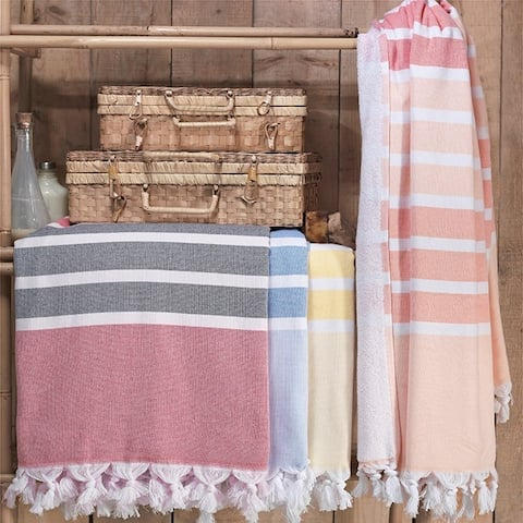 The Curated Nomad Merida Turkish Cotton Bath/ Beach Towel - 36x67 Inches