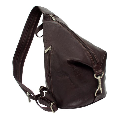 Piel Leather Three-Zip Hobo Sling Backpack
