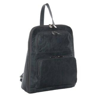 Piel Leather Slim Tablet Backpack w/Front Pockets