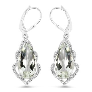 Olivia Leone .925 Sterling Silver 10 5/8 Carat Genuine Green Amethyst & White Topaz Earrings