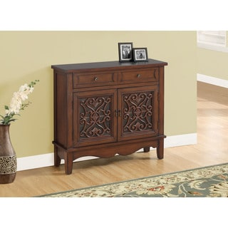 Dark Walnut / Glass Traditional Style Accent Chest