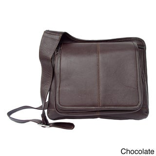 Piel Leather Slim Line Flap-Over Ladies Messenger Bag