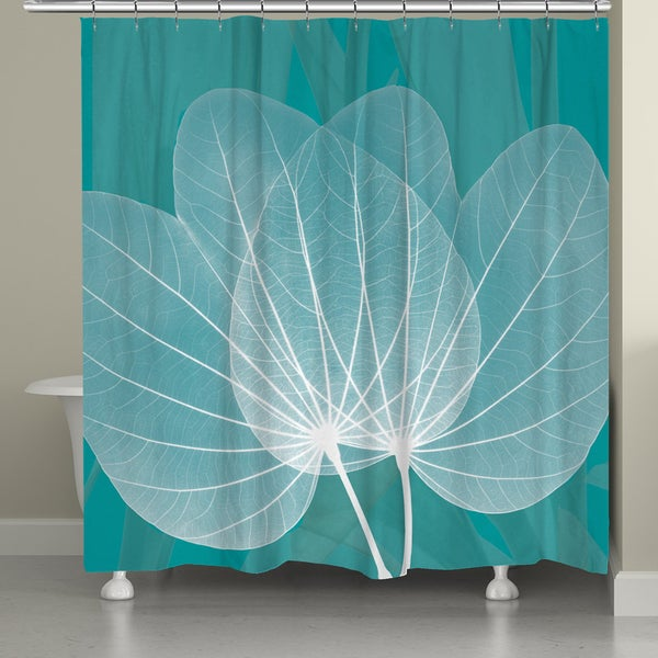 Laural Home X-Ray Leaves on Teal Shower Curtain