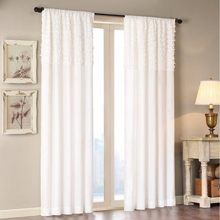 """Madison Park Kylie 84-Inch Horizontal Ruffle Flippable Curtain Panel 84""""-inches in White(As Is Item)"""