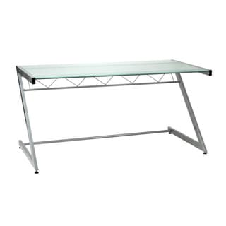 Aluminum/Frosted Glass Z Deluxe Large Desk