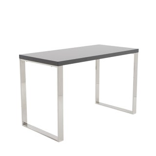 Gray Lacquer/Polished Stainless Steel Dillon Desk