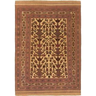 ecarpetgallery Ghafkazi Brown, Yellow Wool Sumak (6'9 x 9'9)