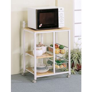White/ Natural Wood 2-Shelf Kitchen Cart