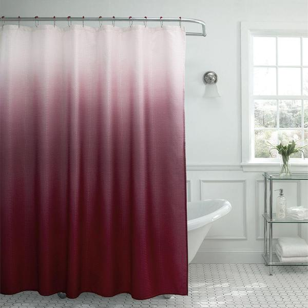 Matching Bedroom And Bathroom Sets: Shop Modern Ombre Waffle Weave Shower Curtain With