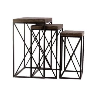 Metal Rectangular Nesting Accent with Wood Top and Square Base Table Set of Three Coated Finish Black